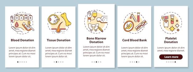 Pantalla de la página de la aplicación móvil de incorporación de donación de órganos con conceptos