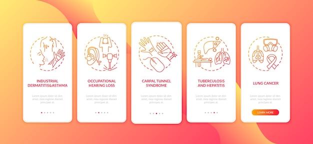 Pantalla de la página de la aplicación móvil de incorporación de enfermedades ocupacionales con conceptos.