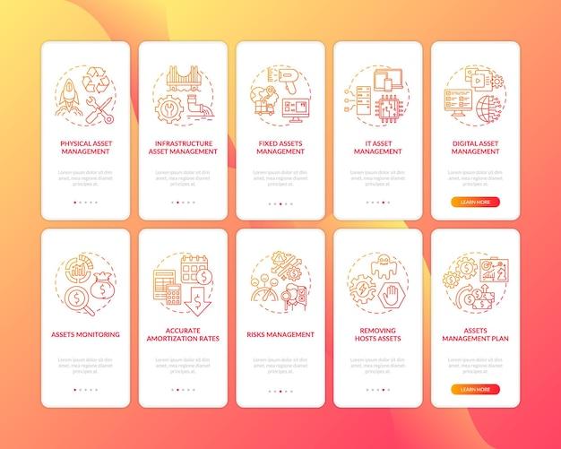 Pantalla de la página de la aplicación móvil de incorporación de la gestión de inversiones con el conjunto de conceptos. monitoreo de activos tutorial instrucciones gráficas de cinco pasos. plantilla de interfaz de usuario con ilustraciones en color