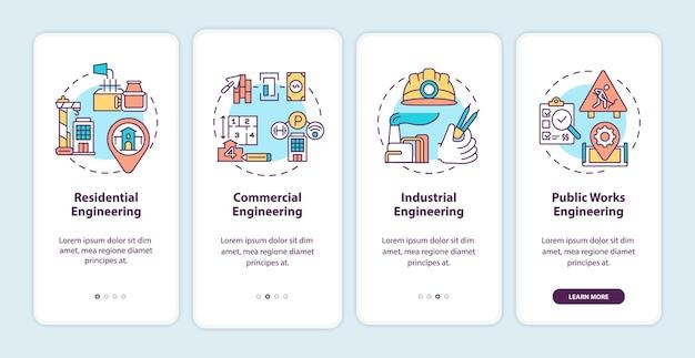 Pantalla de la página de la aplicación móvil de incorporación de ingeniería industrial con ilustraciones de conceptos