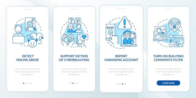 Pantalla de página de la aplicación móvil de incorporación de prevención de ciberhumillación con conceptos