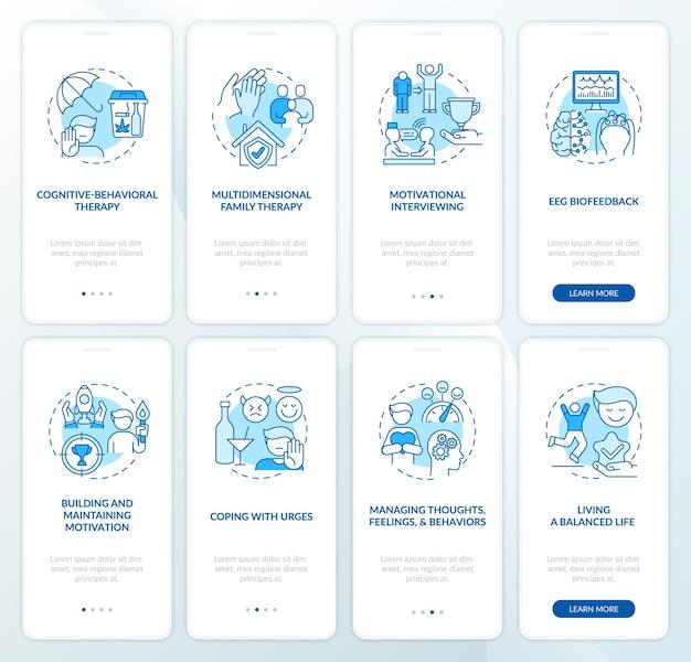 Pantalla de página de la aplicación móvil de incorporación de rehabilitación con conjunto de conceptos