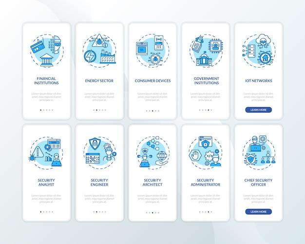 Pantalla de página de aplicación móvil de incorporación de seguridad informática con conjunto de conceptos