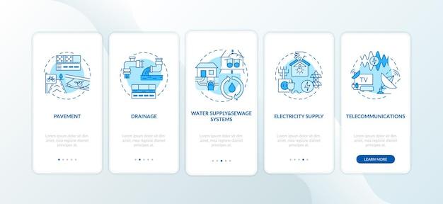Pantalla de la página de la aplicación móvil de incorporación de suministro de recursos urbanos con conceptos