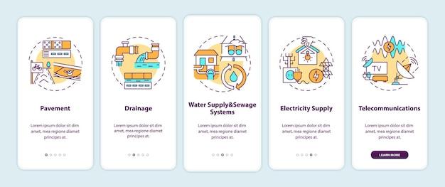 Pantalla de página de la aplicación móvil de incorporación de suministro de recursos urbanos con ilustraciones de conceptos