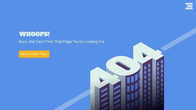 Pantalla de página de destino para la página de error 404 no encontrada
