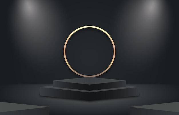 Pantalla de podio 3d en negro y dorado con círculo dorado vector premium