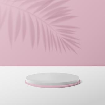 Pantalla de podio de círculo blanco y rosa 3d.
