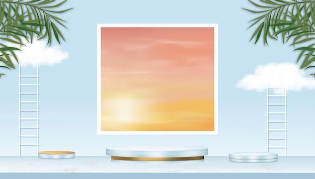 Pantalla de podio con escalera, hojas de palmera y nubes sobre fondo de cielo azul.