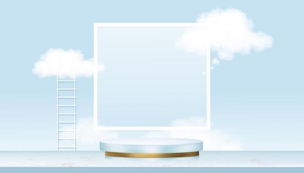 Pantalla de podio con escalera y nube flotando en el cielo azul. plataforma de soporte cilíndrico dorado 3d sobre suelo de mármol.