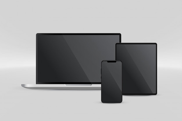 Pantalla de presentación de tableta portátil y teléfono inteligente.