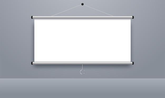 Pantalla de proyección vacía, tablero de presentación, pizarra en blanco para conferencias