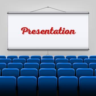 Pantalla de proyector de reunión vacía, presentación.