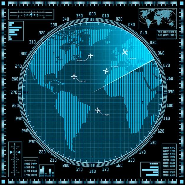 Pantalla de radar azul con planos y mapamundi.