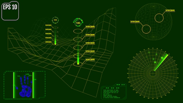 Pantalla de radar con planeta, mapa, objetivos y usuario futurista.