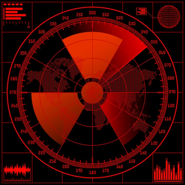 Pantalla de radar con señal radioactiva.