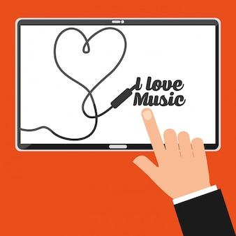 Pantalla de tableta de punto de mano con letras me encanta la música
