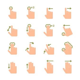 Pantalla táctil conjunto de iconos de gestos de la mano de deslizar deslizar y toque aislado ilustración vectorial