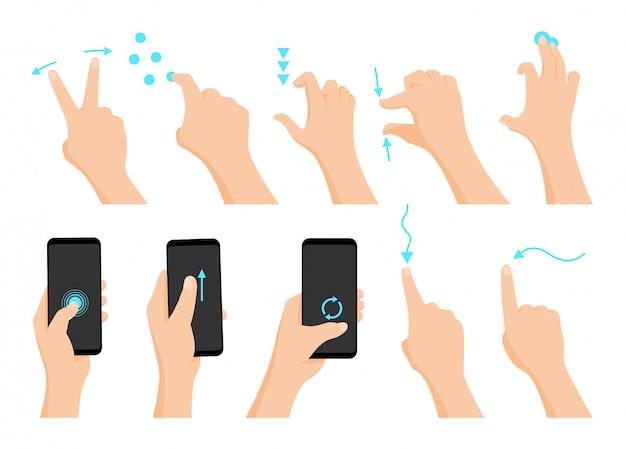 Pantalla táctil gestos con las manos.
