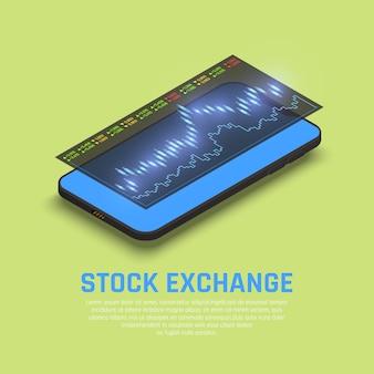 Pantalla del teléfono inteligente de la bolsa de valores con información del mercado financiero en tiempo real para la composición isométrica de los inversores de fondos