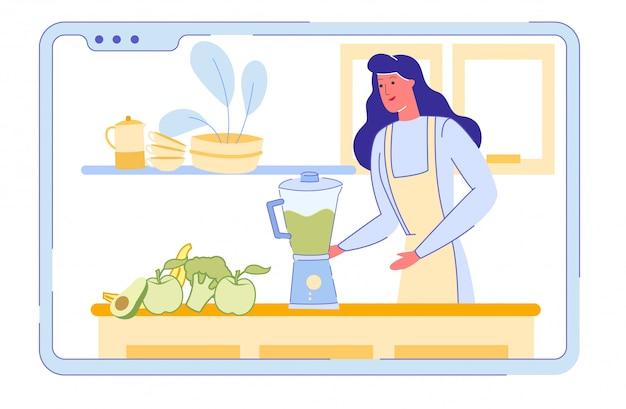 Pantalla del teléfono inteligente con mujer preparar batido de vitaminas