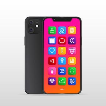 Pantalla de teléfono inteligente realista con aplicaciones