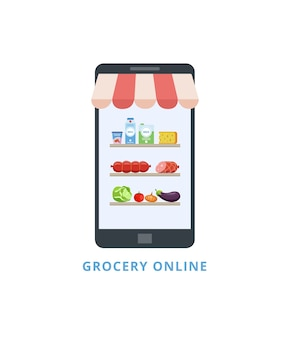 Pantalla de teléfono móvil con estantes de comestibles