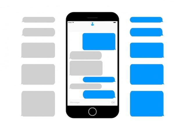 Pantalla de teléfono móvil mensajes de texto cuadros vacíos bublbes
