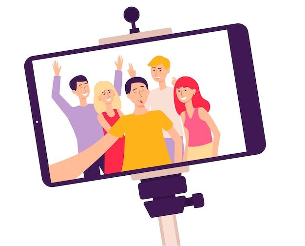 Pantalla de teléfono móvil en un palo selfie con una foto de gente sonriente, la ilustración de vector de dibujos animados plana aislada