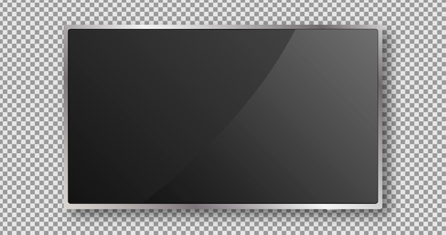 Pantalla de televisión. diseño de monitor negro. panel lcd