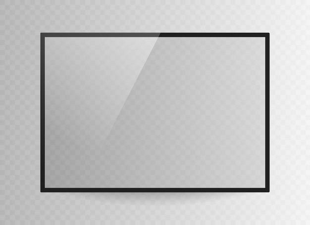 Pantalla de televisión negra realista aislada sobre fondo transparente. 3d monitor de led tv en blanco.