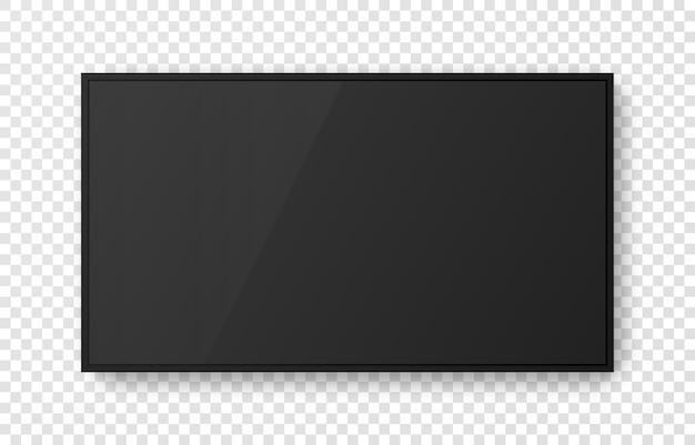 Pantalla de televisión negra realista sobre fondo transparente