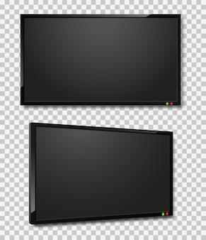Pantalla de televisión realista ilustración de pantallas de televisión led o lcd