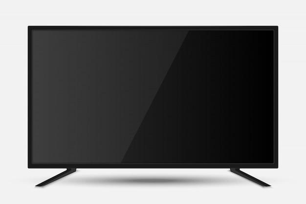 Pantalla de televisión realista. moderno panel lcd de televisión con partido de fútbol.