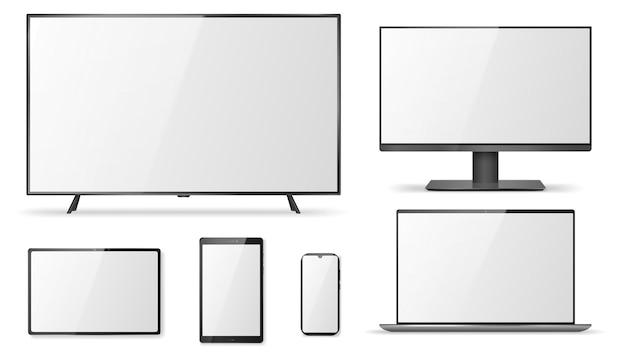 Pantalla de televisión realista, monitor, portátil.
