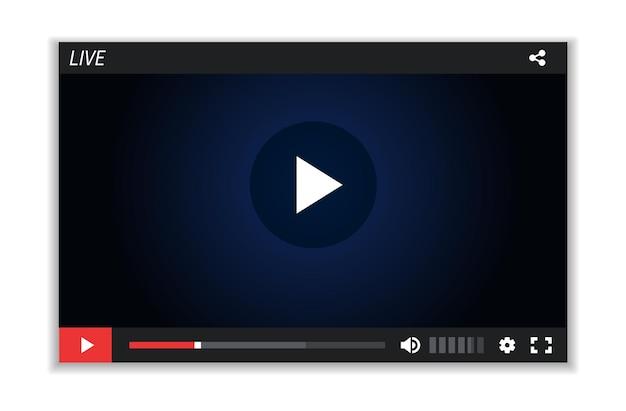 Pantalla de transmisión en vivo. diseño de reproductor de video, plantilla de marco multimedia. película digital, ilustración de vector de ventana web. maqueta de pantalla de película, interfaz de marco multimedia de diseño