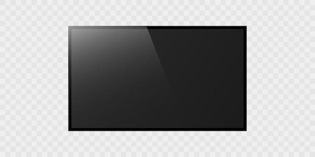 Pantalla de tv realista sobre fondo transparente. pantalla lcd moderna en blanco