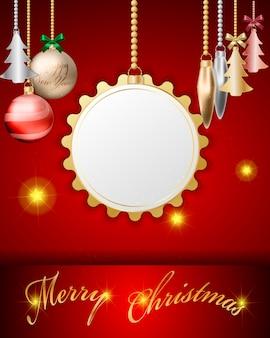 Pantalla vacía que cuelga diseño de bolas de oro de navidad 3d