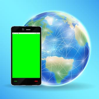 Pantalla verde del smartphone con globo terráqueo