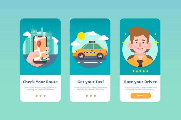 Pantallas de la aplicación de incorporación del servicio de taxi