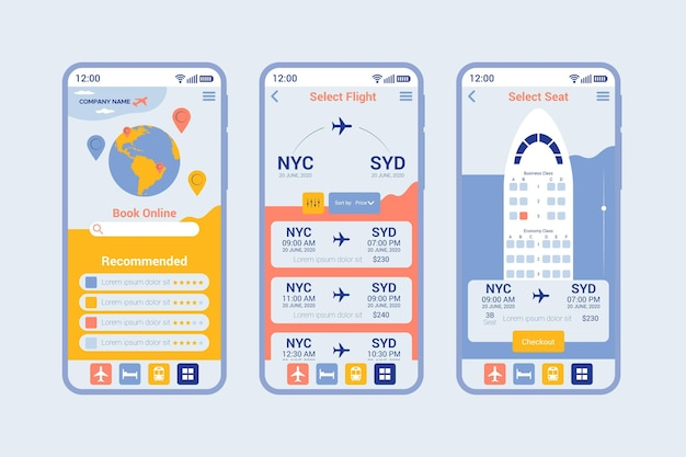 Pantallas de la aplicación de reserva de viajes