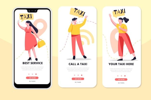 Pantallas de la aplicación de servicio de taxi en el teléfono