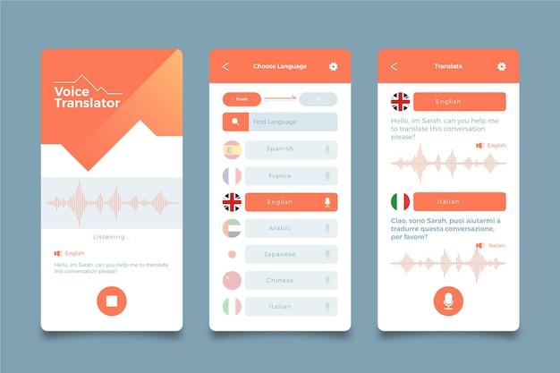 Pantallas de la aplicación de traductor de voz