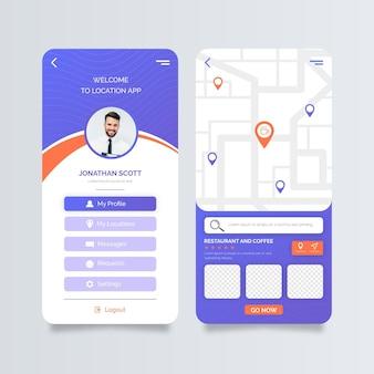 Pantallas de la aplicación de ubicación