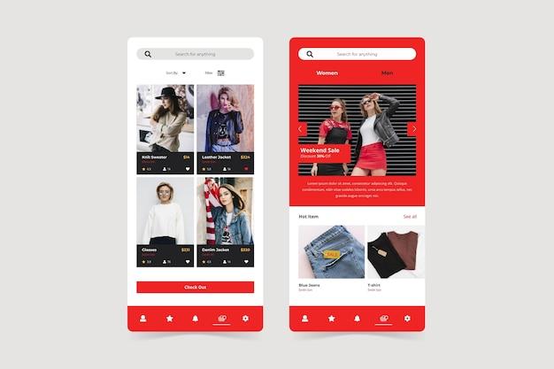Pantallas de aplicaciones de compras de moda