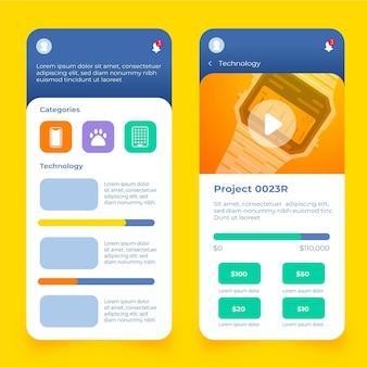 Pantallas de aplicaciones de crowdfunding