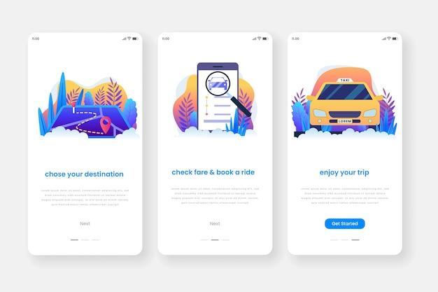 Pantallas de aplicaciones de incorporación del servicio de taxi