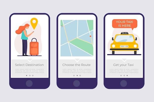 Pantallas de aplicaciones de incorporación de taxis