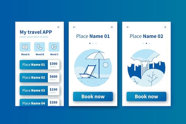 Pantallas de aplicaciones de incorporación de viajes