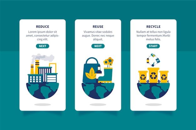 Pantallas de aplicaciones incorporadas para el diseño de reciclaje
